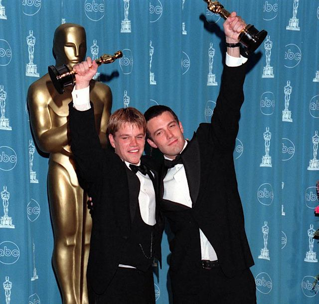 Matt Damon and Ben Affleck at the 1998 Oscars. (Photo: Evan Agostini/ImageDirect)