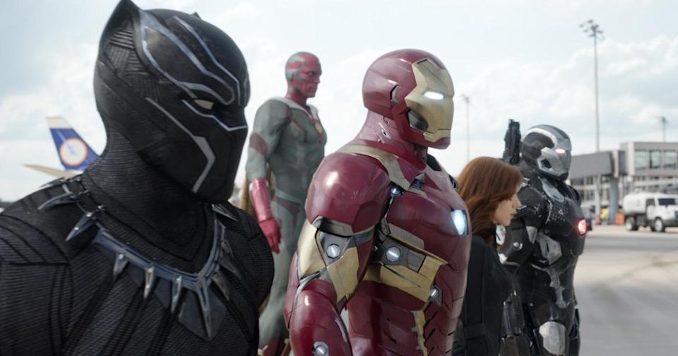 <p>Black Panther, Vision, Black Widow, War Machine and (not pictured) Spider-Man prefer the law-and-order leadership of Iron Man. <i>(Photo: Disney)</i></p>