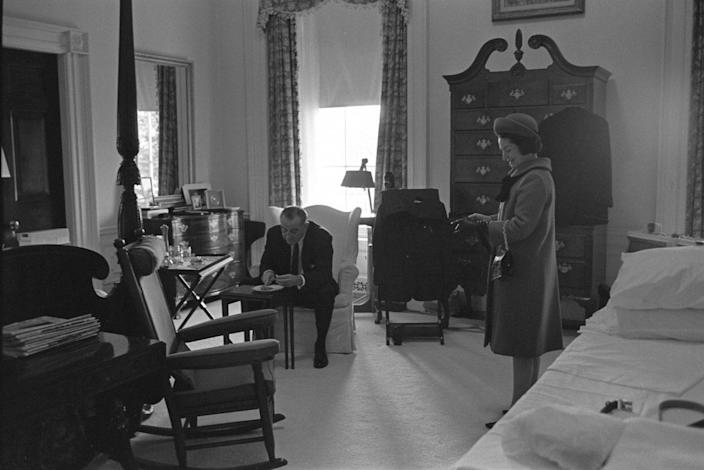 President-elect Lyndon B. Johnson and Lady Bird Johnson on the morning of his second inauguration in Washington, D.C., U.S. in January 1965. Yoichi Okamoto/White House Photo/LBJ Library/Handout