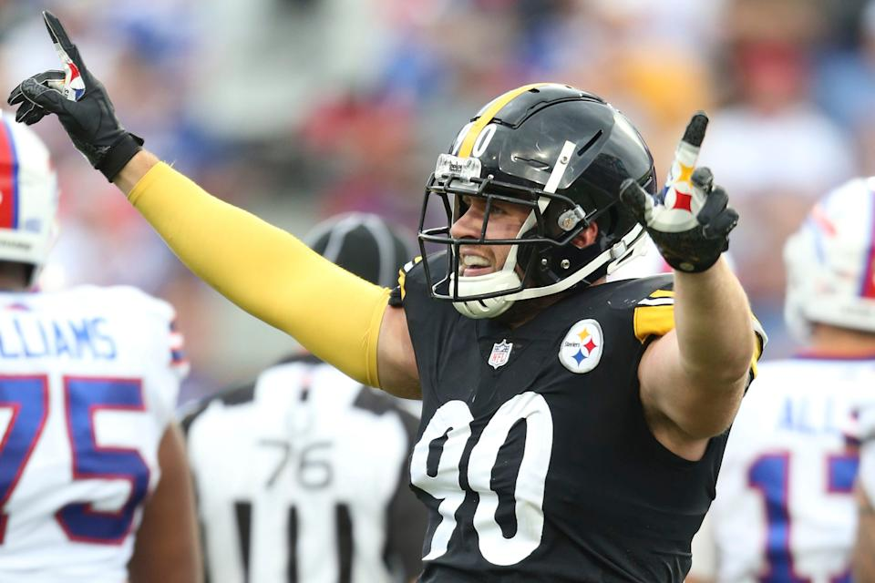 Pittsburgh Steelers linebacker T.J. Watt (90) celebrates during the second half of an NFL football game against the Buffalo Bills in Orchard park, N.Y., Sunday Sept. 12, 2021.