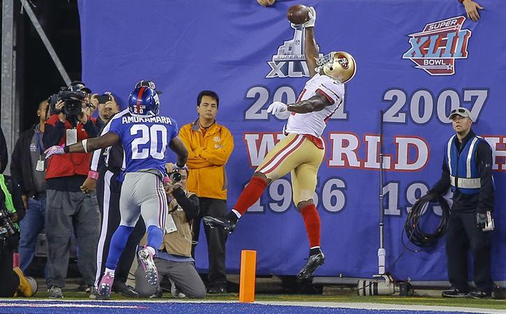 One possible free agent wide receiver the Vikings could sign is former San Francisco 49er Anquan Boldin. Here he attempts to catch the ball in the end zone against the New York Giants at MetLife Stadium.