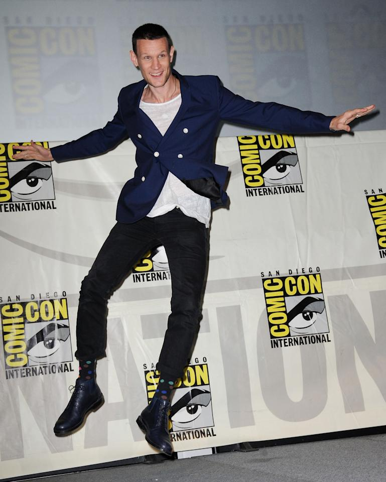 "Matt Smith onstage at BBC America's ""Doctor Who"" 50th Anniversary panel during Comic-Con International 2013 at San Diego Convention Center on July 21, 2013 in San Diego, California."