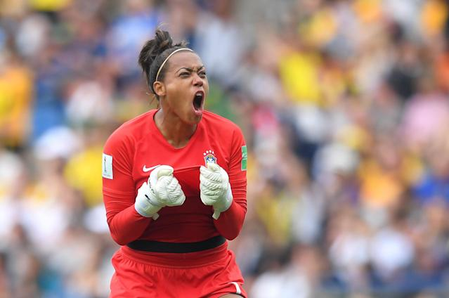 Barbara of Brazil celebrates after teammate Cristiane scores their team's second goal during the 2019 FIFA Women's World Cup France group C match between Australia and Brazil at Stade de la Mosson on June 13, 2019 in Montpellier, France. (Photo by Michael Regan/Getty Images)
