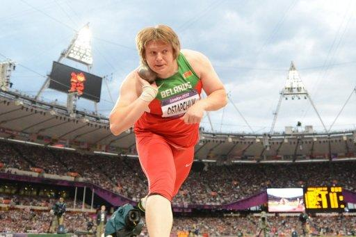 Belarus' Nadezhda Ostapchuk competes to win the women's shot put final at the athletics event of the London 2012 Olympic Games on August 6. Ostapchuk on Monday became the first medallist disqualified from the London Games for doping was stripped of her women's Olympic shot put title