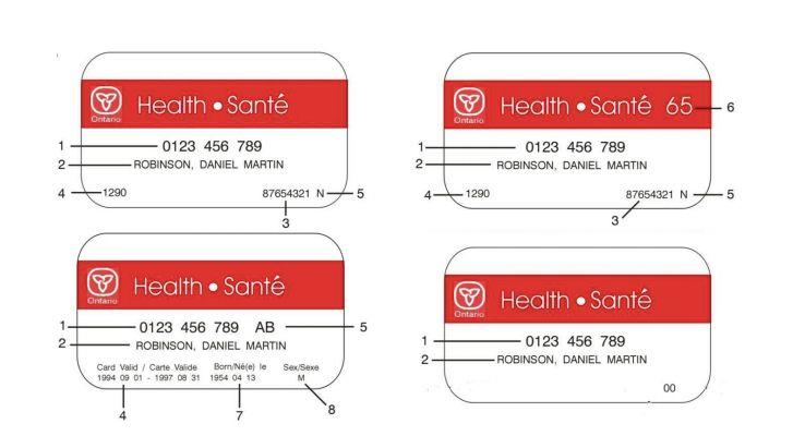 Diagrams of different styles of red-and-white Ontario Health Cards taken from the Ontario Ministry of Health and Long Term Care website. (Image from the Ontario Ministry of Health and Long Term Care)