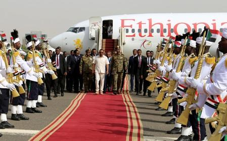 Ethiopian Prime Minister Abiy Ahmed arrives at the airport in Khartoum