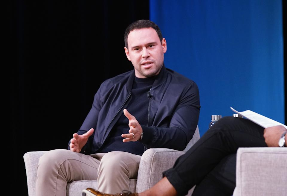 NEW YORK, NY - OCTOBER 23:  Scooter Braun speaks onstage during The Manager: Scooter Braun on Talent, Investing, and Marketing to Global Audiences during Day 1 of Fast Company Innovation Festival at 92nd Street Y on October 23, 2018 in New York City.  (Photo by Bennett Raglin/Getty Images for Fast Company)