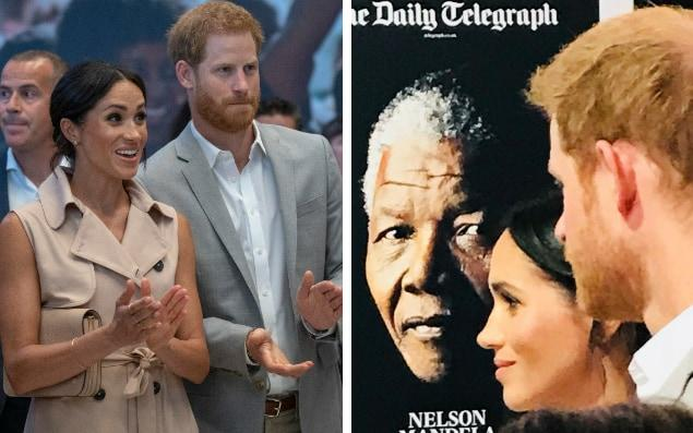 Duke and Duchess of Sussex celebrate Nelson Mandela's centenary at London exhibition (left) and are pictured in front of The Daily Telegraph front page from December 6, 2013, the day after the great man's death - Arthur Edwards/Tanya von Ahlefeldt