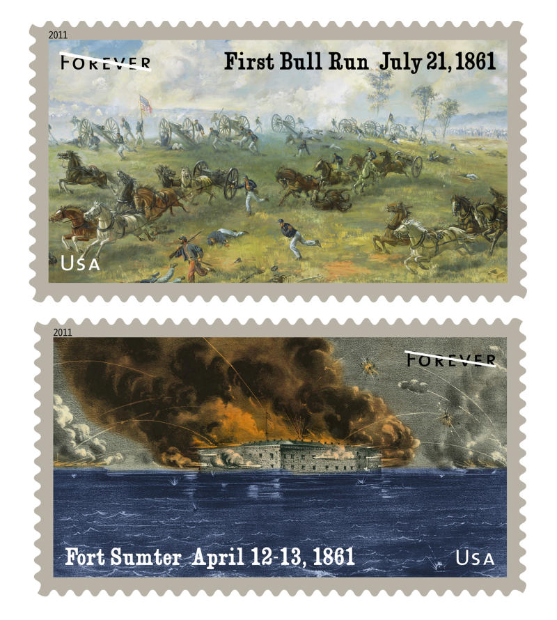 """These undated images provided by the US Postal Service shows forever postage stamps commemorating the first year of the Civil War: the first battle of Bull Run in Virginia, top, and Fort Sumter in South Carolina.  The Postal Service released the two new stamps commemorating the first year of the war, 150 years ago. The stamps, which were issued at ceremonies in Charleston, S,C,  show the bombardment of Fort Sumter in South Carolina and the first battle of Bull Run in Virginia. Designated """"forever"""" stamps, the two will sell for the current 44-cent first class rate and will remain valid for first class letters regardless of future increases in postage. (AP Photo/USPS)"""
