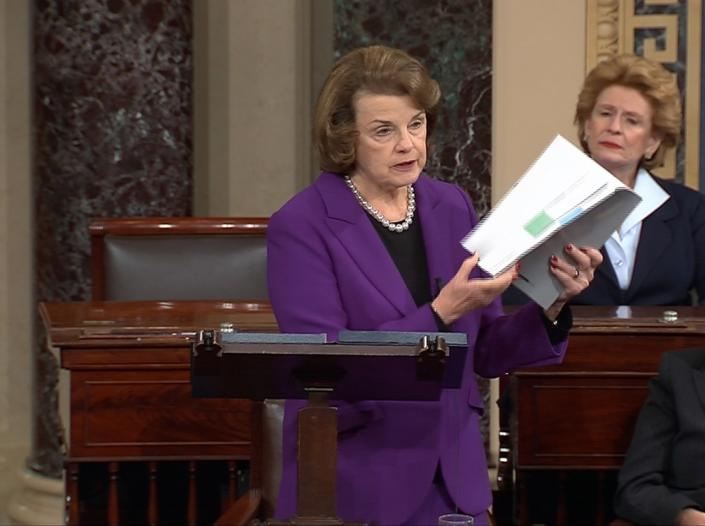 "Sen. Dianne Feinstein, D-Calif., then chair of the Senate Intelligence Committee, discusses the newly released committee report on the CIA's antiterrorism tactics in a speech on the floor of the Senate on Dec. 9. Feinstein said Wednesday she was ""disappointed that no one at the CIA will be held accountable"" for accessing the computers of the committee when it was investigating the agency's involvement in torture. (Reuters/Senate TV/Handout)"