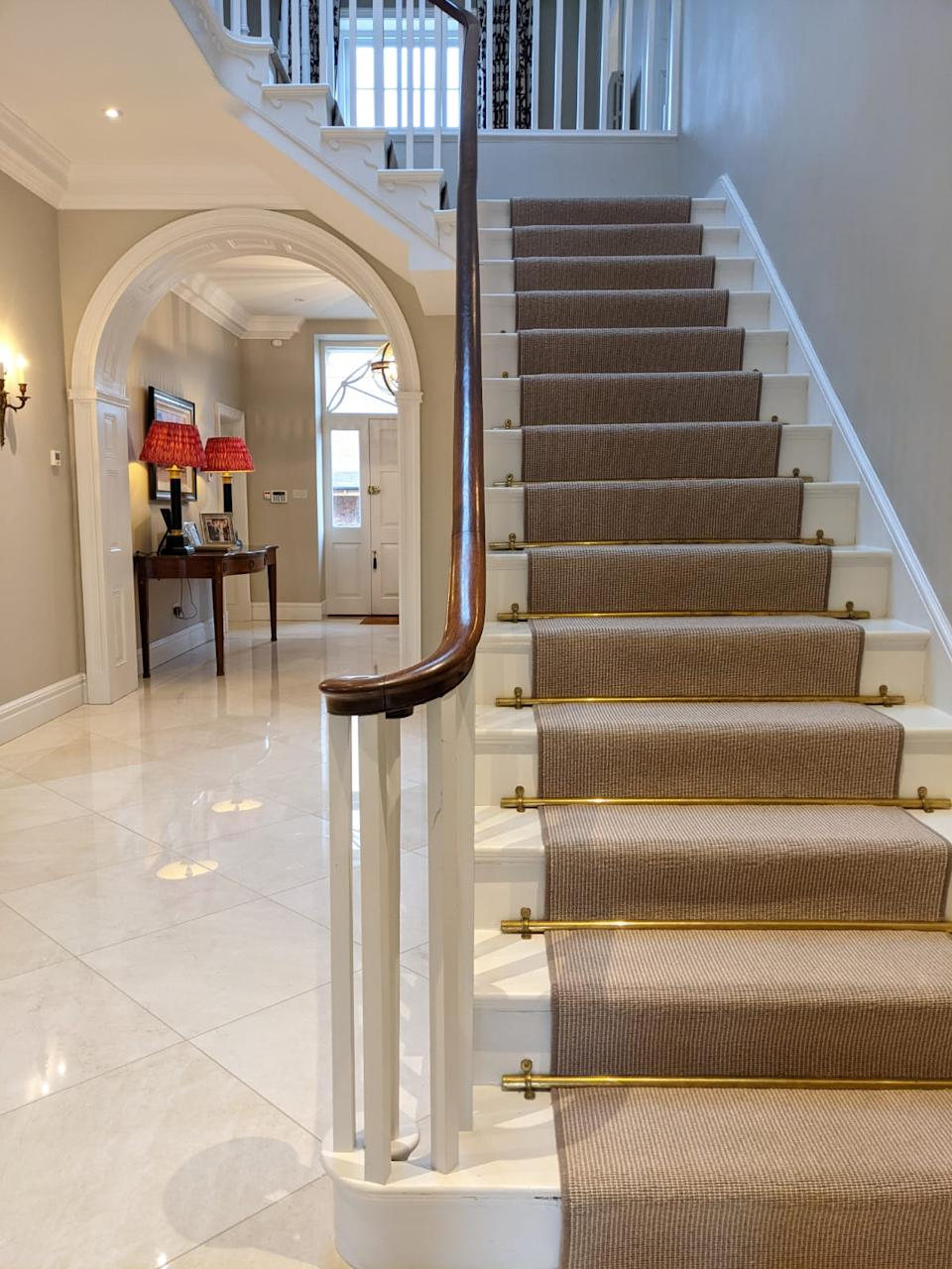 staircase ideas: brass stair rods staircase runner