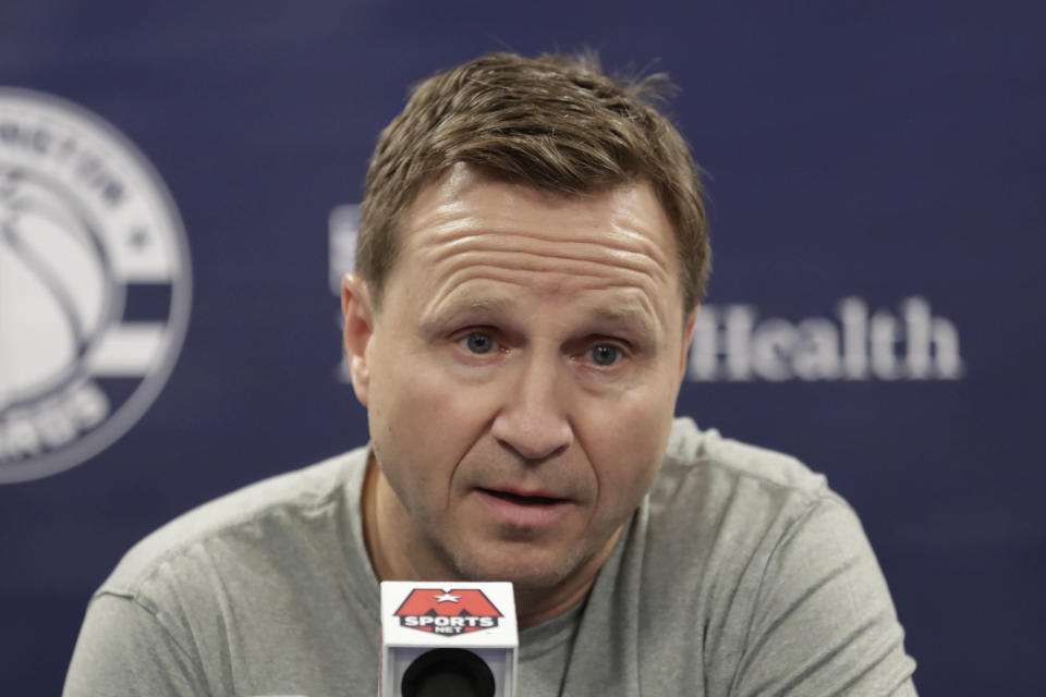 FILE - Washington Wizards head coach Scott Brooks speaks during a news conference before an NBA basketball game against the New York Knicks in Washington, in this Tuesday, March 10, 2020, file photo. Scott Brooks is out as coach of the Washington Wizards, said a person with knowledge of the situation. The person spoke to The Associated Press Wednesday, June 16, 2021, on condition of anonymity because the team hadn't publicly announced the decision. (AP Photo/Luis M. Alvarez, File)