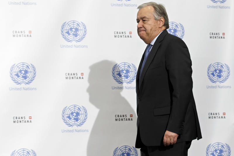 UN Secretary-General Antonio Guterres arrives to inform the media that the conference on Cyprus under the auspices of the United Nations is closed without any agreement, in Crans-Montana, Switzerland, Friday, July 7, 2017. (Salvatore Di Nolfi/Keystone via AP)
