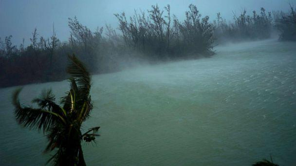 PHOTO: Strong winds from Hurricane Dorian blow the tops of trees and brush while whisking up water from the surface of a canal that leads to the sea, seen from the balcony of a hotel in Freeport, Grand Bahama, Bahamas, Sept. 2, 2019. (Ramon Espinosa/AP)