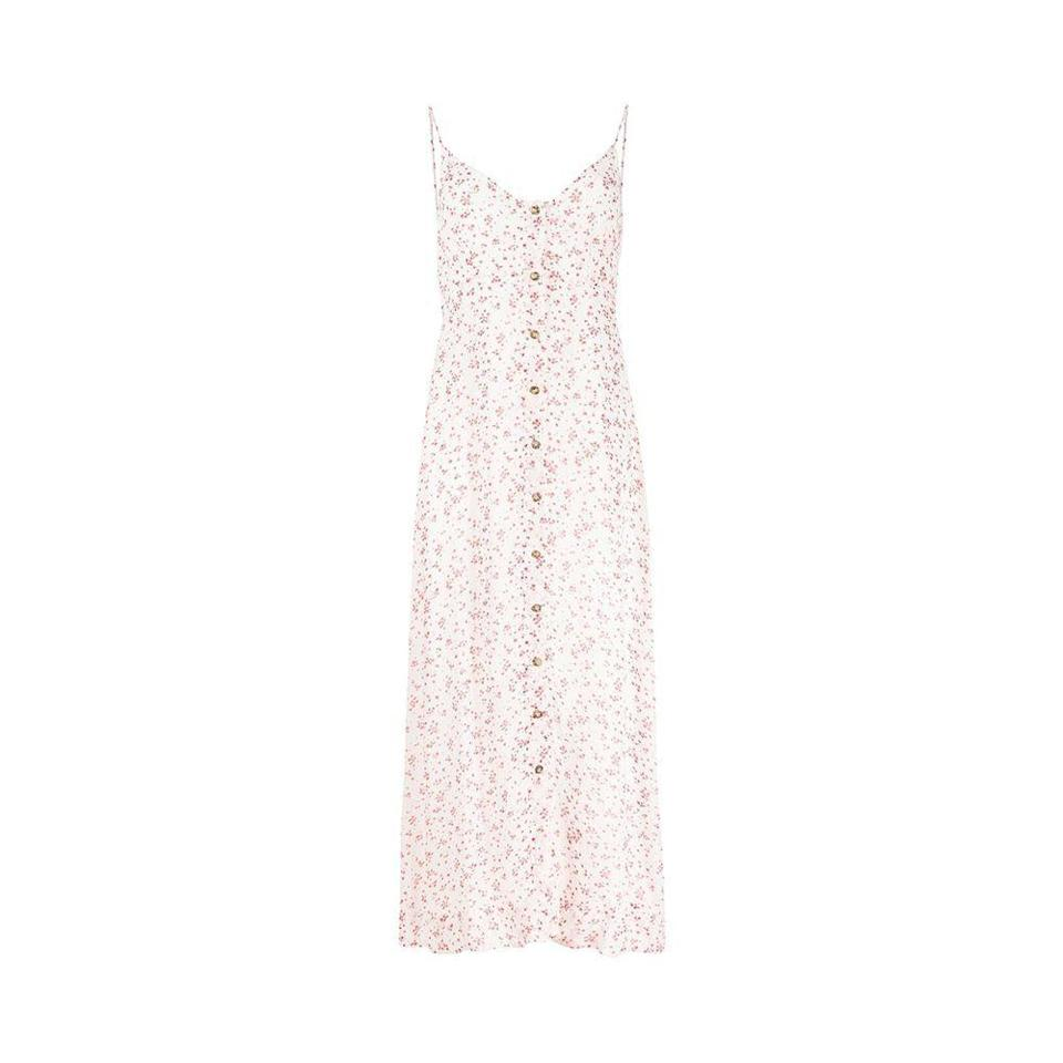 """<p><strong>GANNI</strong></p><p>nordstrom.com</p><p><strong>$150.50</strong></p><p><a href=""""https://go.redirectingat.com?id=74968X1596630&url=https%3A%2F%2Fwww.nordstrom.com%2Fs%2Fganni-floral-georgette-tank-dress%2F5898398&sref=https%3A%2F%2Fwww.harpersbazaar.com%2Ffashion%2Ftrends%2Fg36558825%2Fnordstrom-half-yearly-sale-2021%2F"""" rel=""""nofollow noopener"""" target=""""_blank"""" data-ylk=""""slk:Shop Now"""" class=""""link rapid-noclick-resp"""">Shop Now</a></p><p><strong><del>$215</del> $151 (30% off)</strong></p>"""