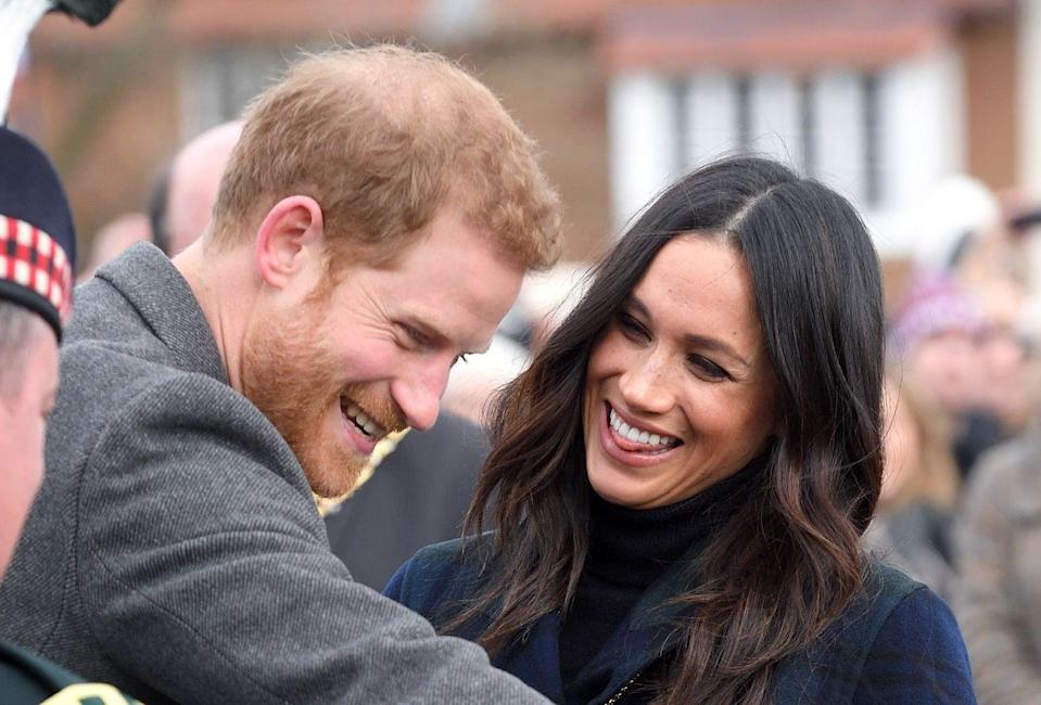 <p>During a trip to Edinburgh in the lead up to the royal wedding, Meghan Markle had to contain her giggles as a cheeky Shetland pony almost bit Prince Harry's hand. Just look at their smiles! February 2018. </p>