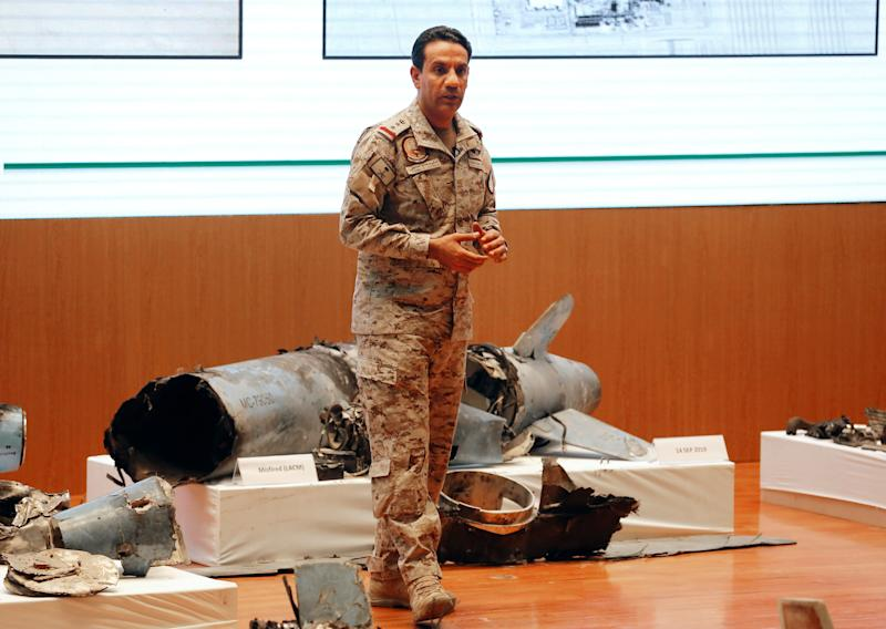 Saudi Col. Turki al-Malki on Sept. 18, 2019, in Riyadh with what he describes as weapons used in the attacks on Saudi Arabia's oil facilities four days earlier.