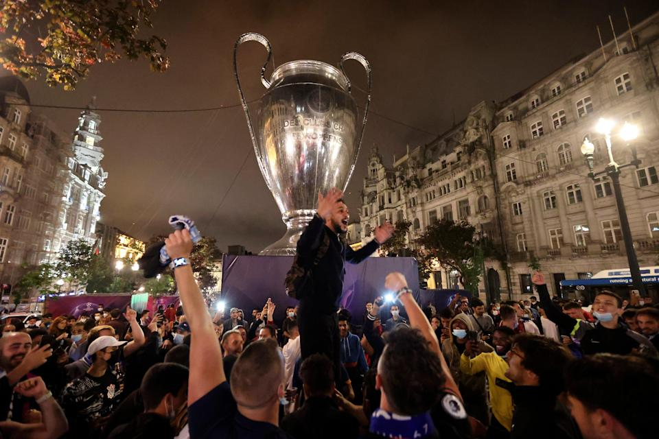 Chelsea fans take to the streets in Porto, Portugal, after the match (AP)