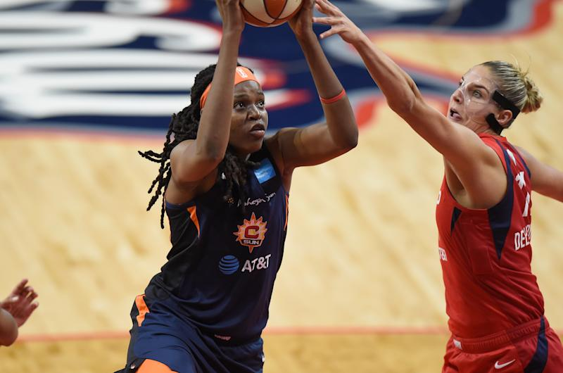 Jonquel Jones #35 of the Connecticut Sun drives to the hoop against Elena Delle Donne #11 of the Washington Mystics during Game Two of the 2019 WNBA Finals at St Elizabeths East Entertainment & Sports Arena on October 1, 2019 in Washington, DC. (Photo by G Fiume/Getty Images)
