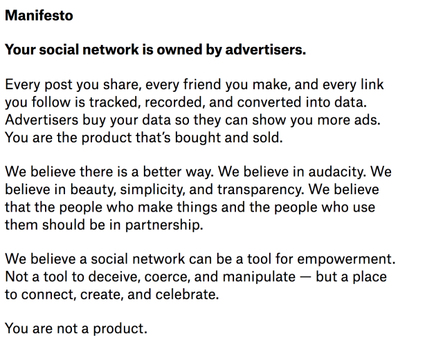 Ello's manifesto from 2014 appears to have aged well four years later. (screenshot by Yahoo Finance)