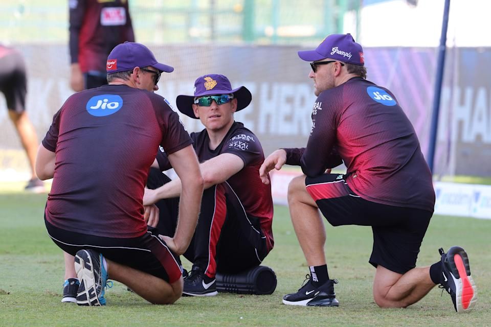 Eoin Morgan captain of Kolkata Knight Riders speaks with Brendon McCullum, head coach of Kolkata Knight Riders during IPL 2020.