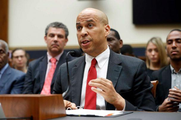 PHOTO: Sen. Cory Booker testifies about reparation for the descendants of slaves during a hearing before the House Judiciary Subcommittee on the Constitution, Civil Rights and Civil Liberties, at the Capitol in Washington, June 19, 2019. (Pablo Martinez Monsivais/AP)