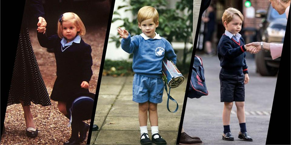 <p>All three of Prince William and Kate Middleton's children are now at school or nursery. Prince Louis started at Willcocks Nursery School in April, with his big brother and sister Prince George and Princess Charlotte both attending Thomas's Battersea.</p><p>Starting school and nursery is a big moment for any child, but for the royal family, whose first days are broadcast to the world, they're an even bigger deal. Here, we take a look back at some of the royals' first days at school and nursery – from an adorable Princess Beatrice in her hat, to a smart looking Prince Harry on his first day at Eton.</p>