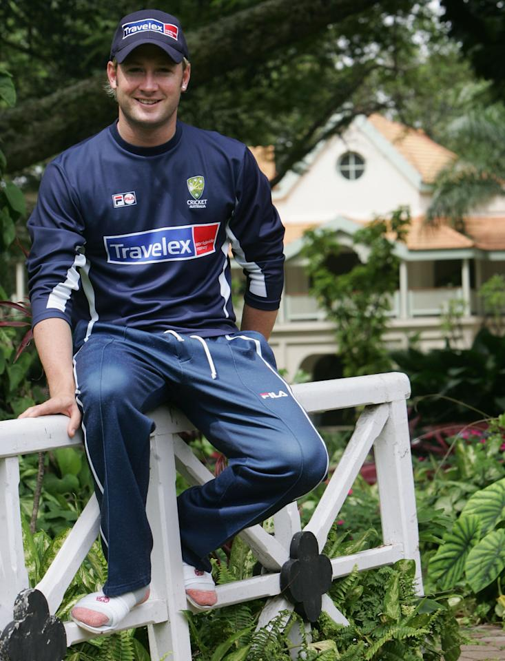 MUMBAI, INDIA - OCTOBER 5:  Michael Clarke of Australia, who will make his debut as the 389th Australian Test Player in the upcoming Test Match in place of the injured Ricky Ponting, poses before training at the Taj West End Hotel on October 5, 2004 in Bangalore, India.  (Photo by Hamish Blair/Getty Images)