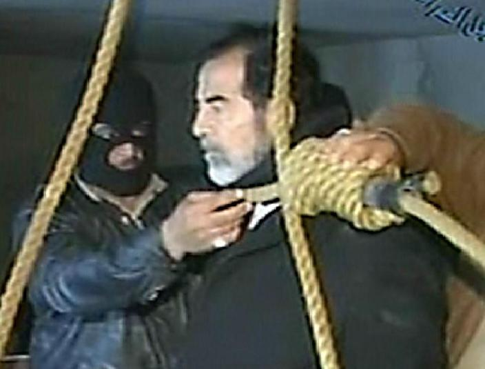 Ousted Iraq president Saddam Hussein moments before he was executed in Baghdad, on December 30, 2006 (AFP Photo/)
