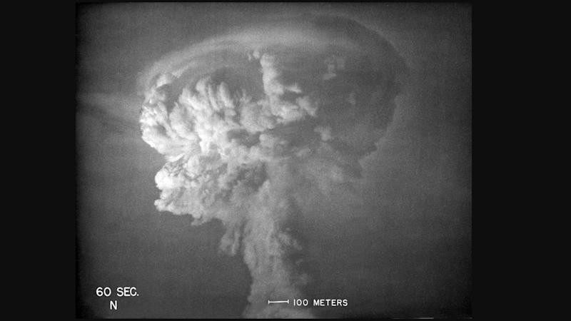 The mushroom cloud seen in New Mexico after the Trinity test. Image credit: Los Alamos National Laboratory
