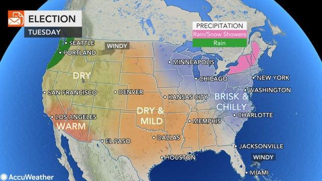 The Election Day weather map across the U.S.