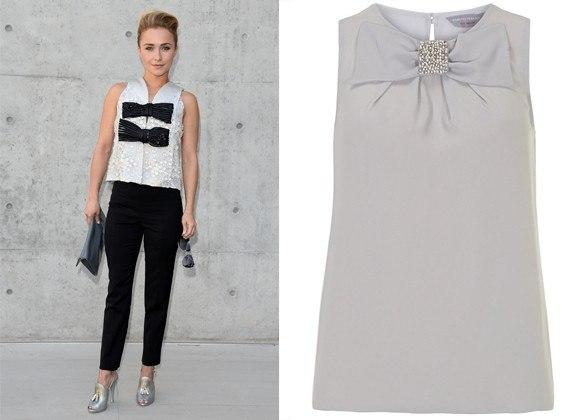 """<div class=""""caption-credit""""> Photo by: Courtesy of WireImage, dorothyperkins.com</div><div class=""""caption-title""""></div>Hayden Panettiere In Giorgio Armani. <br> petite grey jewelled bow shell top, $49, dorothyperkins.com <br> <b>More from <i>Lucky</i>:</b> <br> <b><a rel=""""nofollow"""" target="""""""" href=""""http://www.luckymag.com/beauty/2011/12/40-Drugstore-Classics?mbid=synd_yshine"""">The 40 Best Drugstore Beauty Products</a> <br> <a rel=""""nofollow"""" target="""""""" href=""""http://www.luckymag.com/blogs/luckyrightnow/2012/09/50-Unique-Engagement-Rings?mbid=synd_yshine"""">50 Unique Engagement Rings</a></b> <br>"""