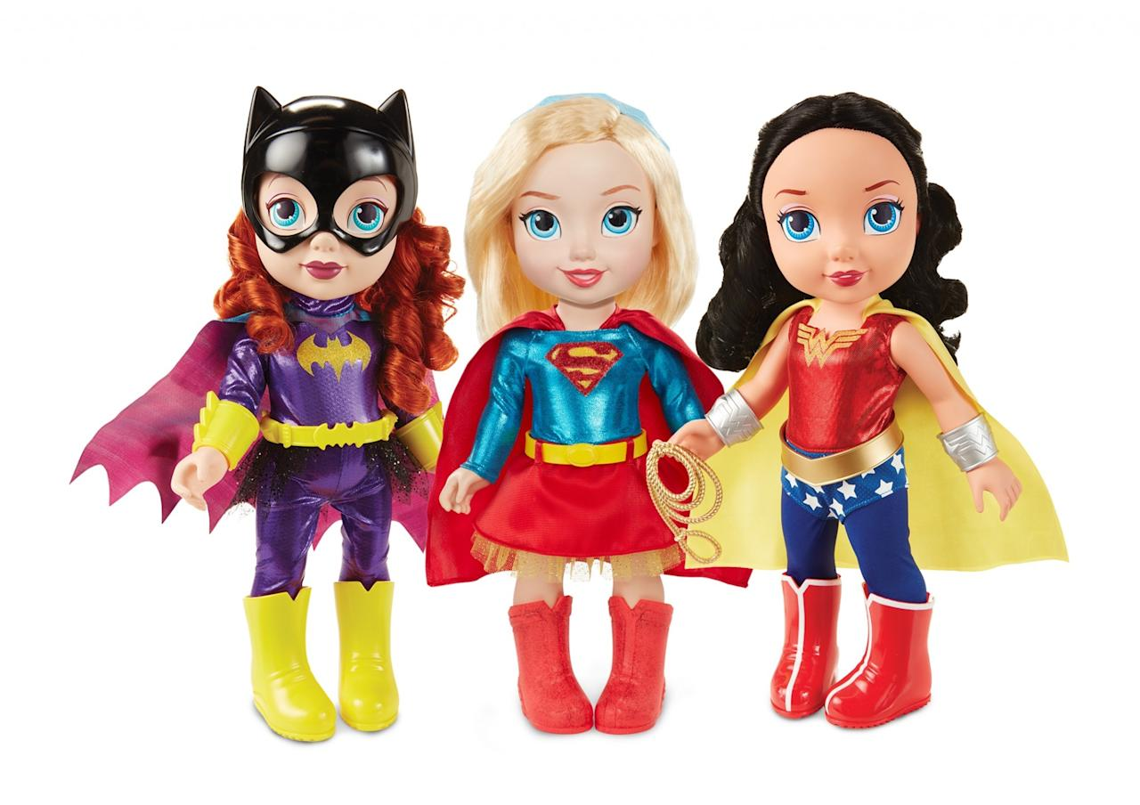<p>Get Batgirl, Supergirl, or Wonder Woman in adorable doll form. Available in fall 2017; $19.99 each. (Courtesy of Jakks Pacific) </p>