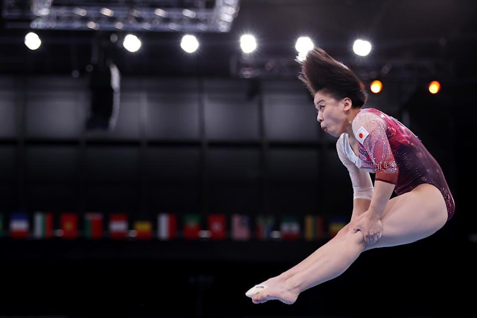 <p>Mai Murakami of Team Japan competes on balance beam during Women's Qualification on day two of the Tokyo 2020 Olympic Games at Ariake Gymnastics Centre on July 25, 2021 in Tokyo, Japan. (Photo by Francois Nel/Getty Images)</p>