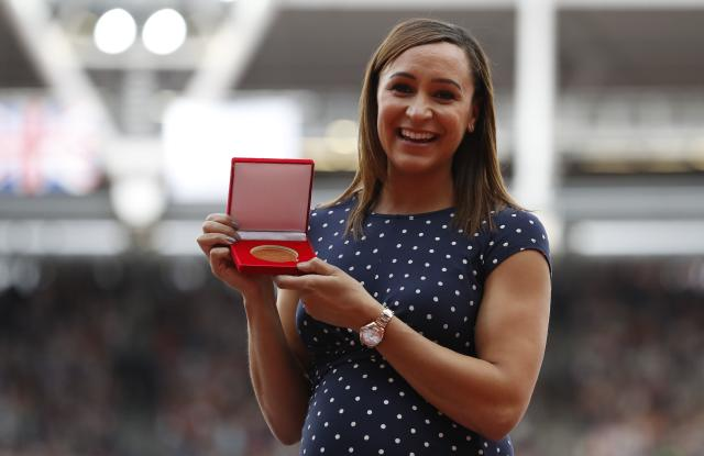 Athletics - World Athletics Championships – Heptatlon women – London Stadium, London, Britain – August 6, 2017 –Jessica Ennis of Britain is promoted from Silver to Gold in Heptatlon Women discipline from Daegu 2011. REUTERS/Phil Noble