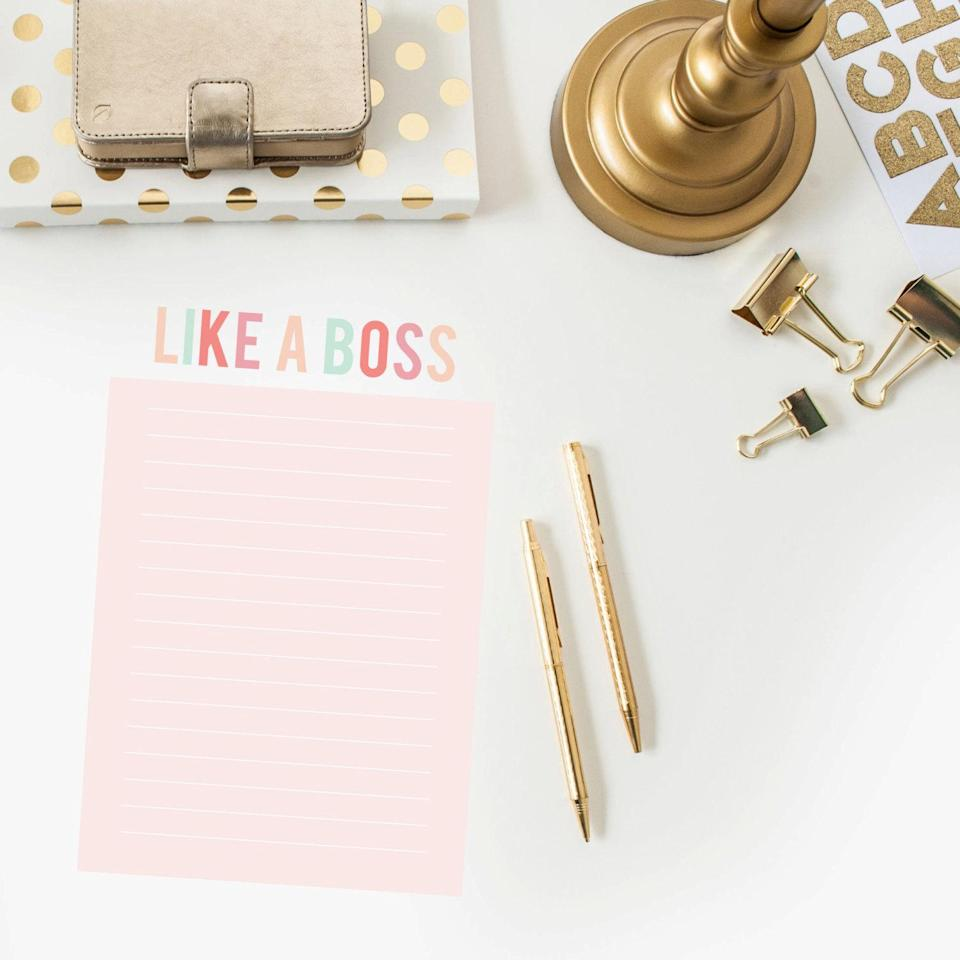 """Like a Boss Notepad; $15 at <a href=""""https://www.etsy.com/listing/156566545/like-a-boss-notepad?ref=sr_gallery_13&ga_search_query=notepad&ga_page=2&ga_search_type=all&ga_view_type=gallery"""" rel=""""nofollow noopener"""" target=""""_blank"""" data-ylk=""""slk:etsy.com"""" class=""""link rapid-noclick-resp""""><em>etsy.com</em></a>"""
