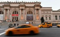 Yellow taxis outside New York's Metropolitan Museum on 7 January 2021