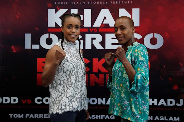 Boxing - Amir Khan & Phil Lo Greco Press Conference - Royal Liver Building, Liverpool, Britain - April 19, 2018 Natasha Jonas and Taoussy L'Hadji pose after the press conference Action Images via Reuters/Andrew Couldridge