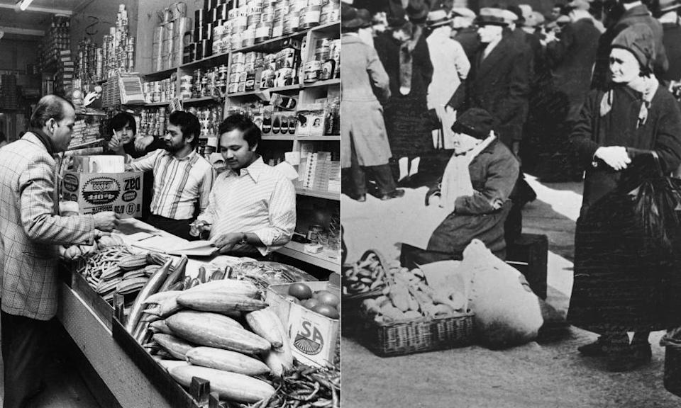 Uddin's grocery shop in 1978, left, and bagel sellers outside Bloom's kosher restaurant in the 1930s.