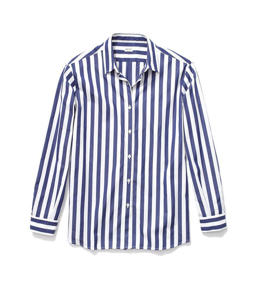 """<p>The Hutton Oversize Shirt in White/Navy, $238, <a rel=""""nofollow noopener"""" href=""""https://www.kule.com/collections/shirts/products/the-hutton"""" target=""""_blank"""" data-ylk=""""slk:kule.com"""" class=""""link rapid-noclick-resp"""">kule.com</a> </p>"""
