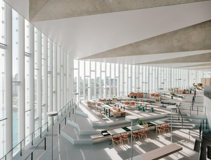 The topmost, cantilevered floor of the new library features ample seating so guests can take in every last view.