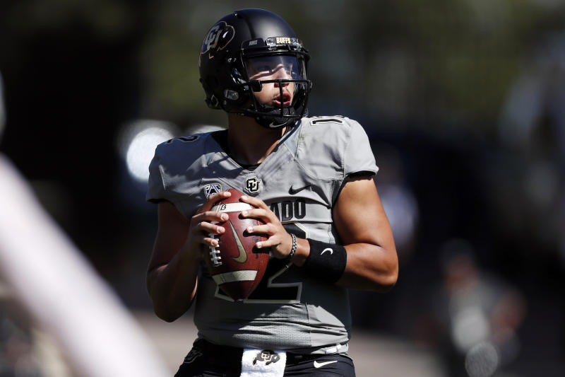 Colorado quarterback Steven Montez looks to pass during the first half of an NCAA college football game against Air Force, Saturday, Sept. 14, 2019, in Boulder, Colo. (AP Photo/David Zalubowski)