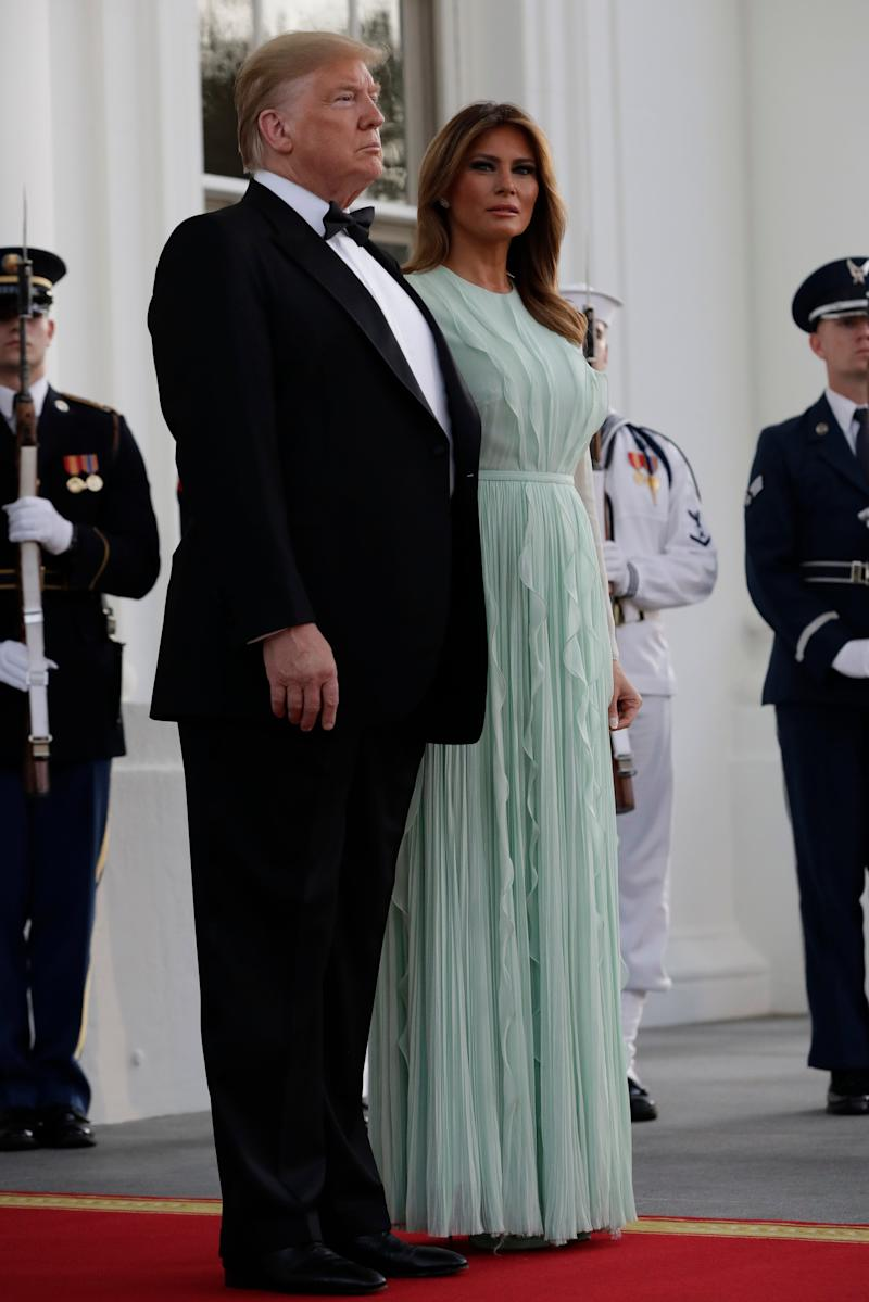 President Donald Trump and first lady Melania Trump wait to welcome Australian Prime Minister Scott Morrison and his wife Jenny Morrison during for a State Dinner at the White House, Friday, Sept. 20, 2019, Washington.