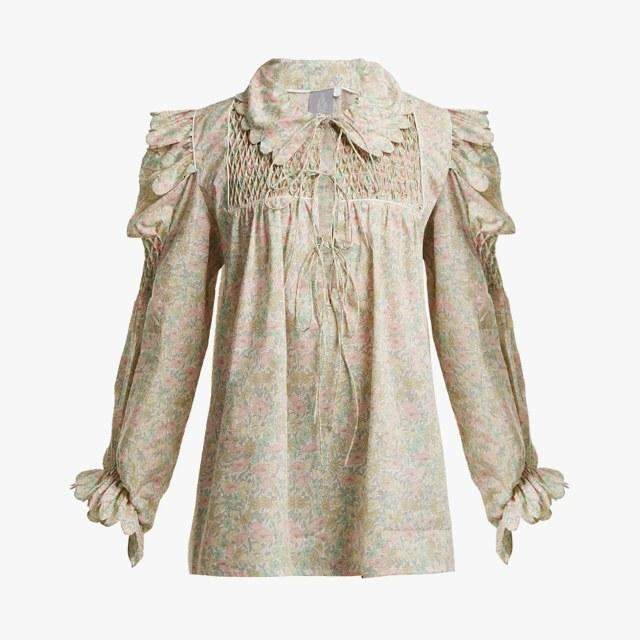 Horror Vacui smocked scallop-edged cotton blouse, $485, matchesfashion.com