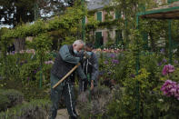 Gardeners work in the Japanese-inspired water garden of Claude Monet's house, French impressionist painter who lived from 1883 to 1926, ahead of the re-opening, in Giverny, west of Paris, Monday May 17, 2021. Lucky visitors who'll be allowed back into Claude Monet's house and gardens for the first time in over six months from Wednesday will be treated to a riot of color, with tulips, peonies, forget-me-nots and an array of other flowers all competing for attention. (AP Photo/Francois Mori)