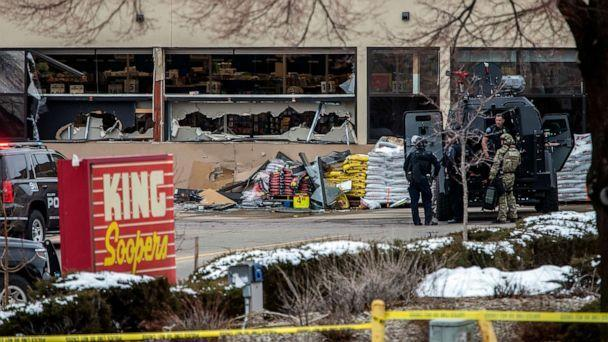PHOTO: Tactical police units respond to the scene of a King Soopers grocery store after a shooting, March 22, 2021, in Boulder, Colo. (Chet Strange/Getty Images)