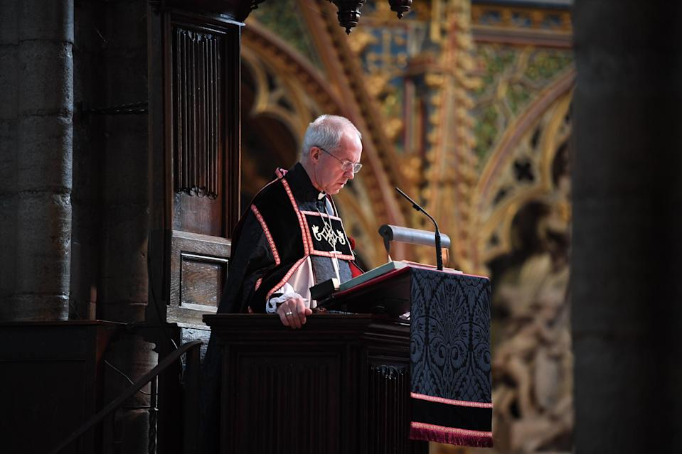 The Archbishop of Canterbury Justin Welby speaking at Westminster Abbey in London, during a service to mark Armistice Day and the centenary of the burial of the unknown warrior. PA Photo. Picture date: Wednesday November 11, 2020.  (Jeremy Selwyn/Evening Standard/PA Wire)