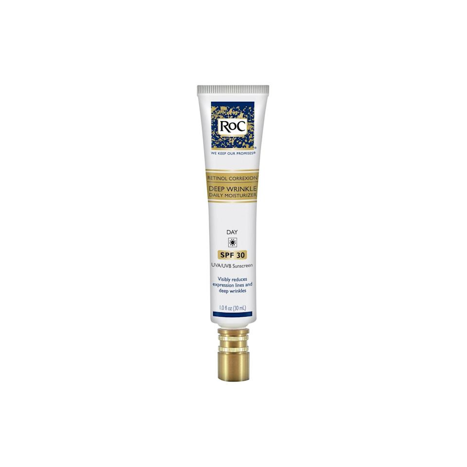 """<p>Want to dip your toes (metaphorically, of course) into the world of retinols? Try RoC's Retinol Correxion Deep Wrinkle Daily Moisturizer, an affordable """"gateway"""" formula that lightens sun spots, firms skin, and boosts your natural radiance.</p> <p><strong>$25</strong> (<a href=""""https://www.amazon.com/RoC-Correxion-Anti-Aging-Moisturizer-Sunscreen/dp/B00387F426"""" rel=""""nofollow noopener"""" target=""""_blank"""" data-ylk=""""slk:Shop Now"""" class=""""link rapid-noclick-resp"""">Shop Now</a>)</p>"""