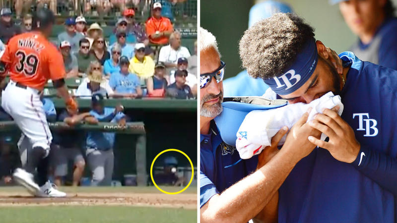 Tampa Bay Rays prospect Garrett Whitley (pictured left) sitting down as the ball comes towards him and (pictured right) holding his face after being hit.