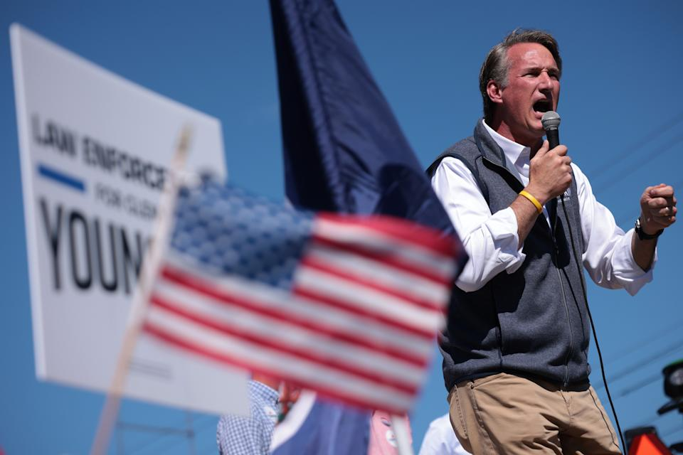 Republican gubernatorial candidate Glenn Youngkin speaks at a campaign rally to encourage voters to cast their ballots early September 24, 2021 in Harrisonburg, Virginia. (Win McNamee/Getty Images)